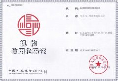 Institutional Credit Code Certificate of Zaozhuang Sunweigh Technology Co., Ltd.